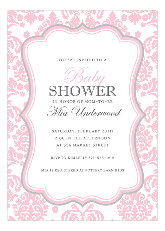 darling damask pink and grey invitation