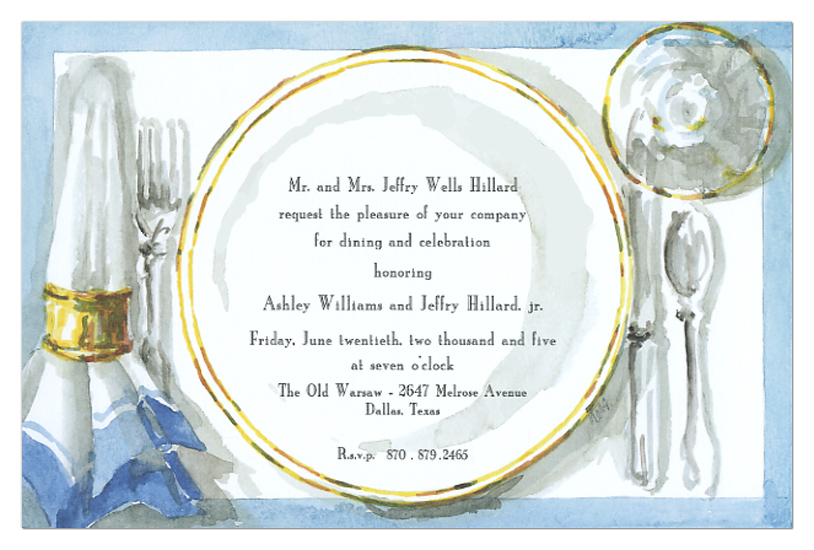 Dinner Invitation  Polka Dot Design