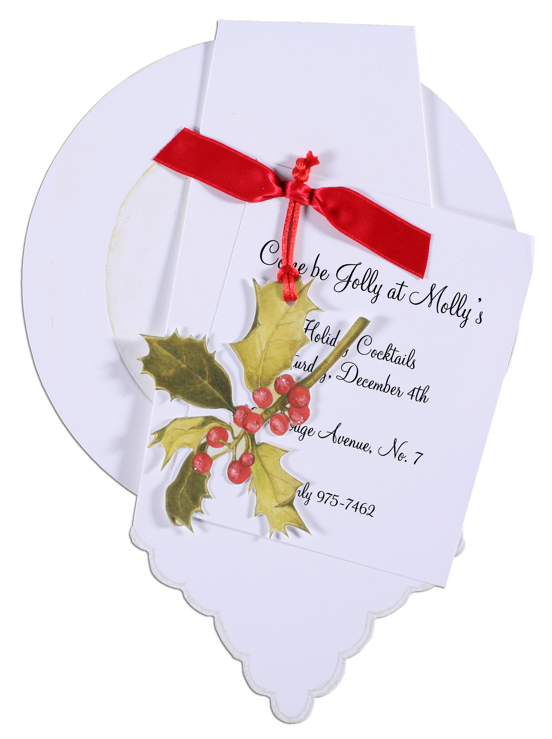 Dinner Party Invitation with Red Ribbon and Holly