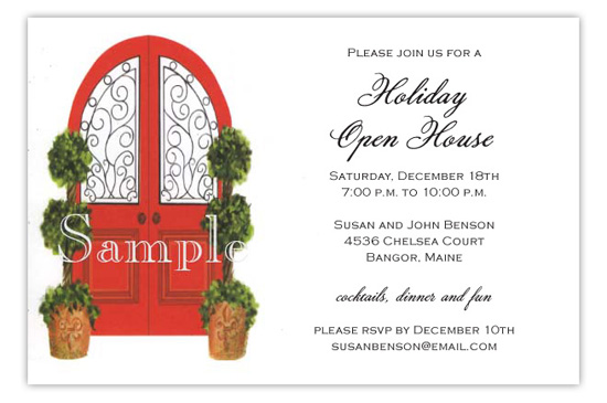 Open House Door With Topiaries