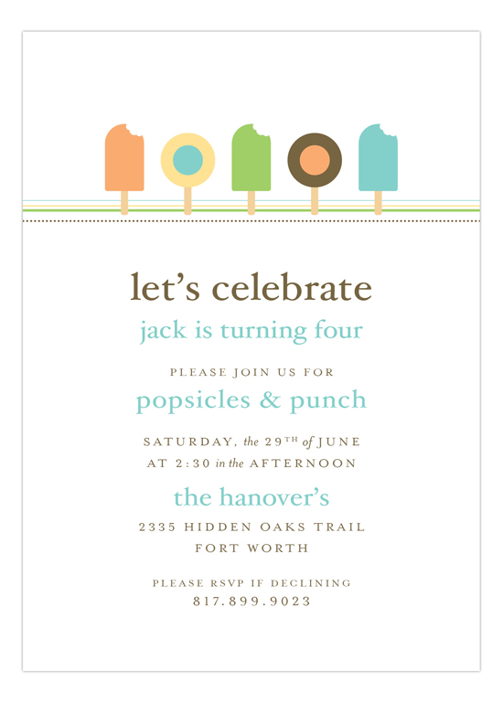 Dreamsicle Summer Pops Invitation
