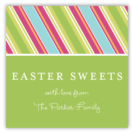 Easter Candy Stripes Square Sticker