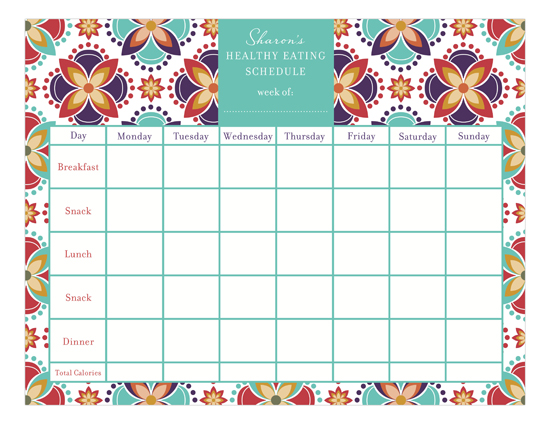 eating schedule calendar pad custom diet calendar to order online