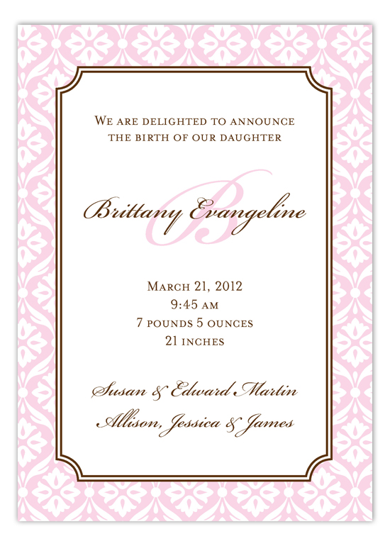 Elegant Baby Girl Invitation