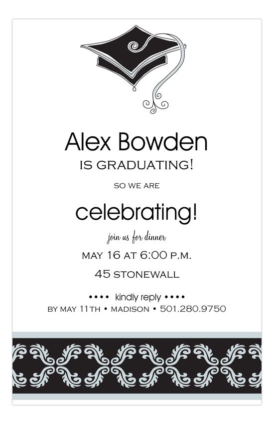 elegant grad cap graduation invitation