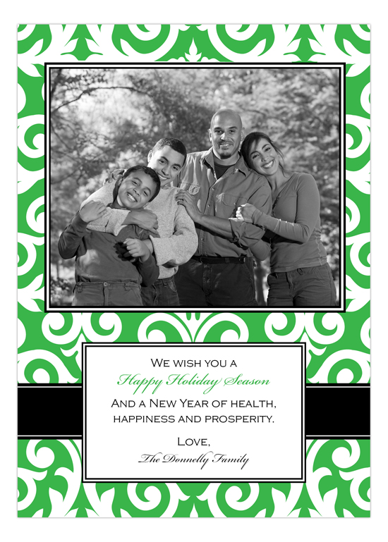 Elegant Green Damask Photo Card