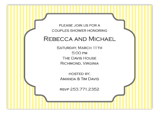 Elegant Yellow Pinstripe Invitation