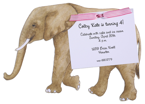 Elephant Invitation with Pink Ribbon
