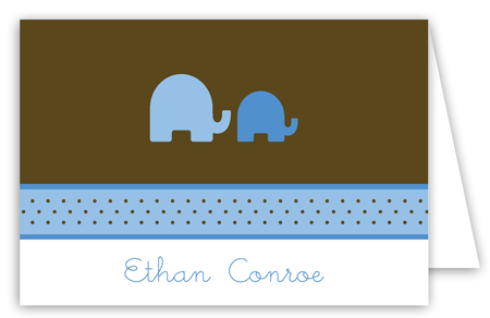 Elephants in Blue Folded Note Card