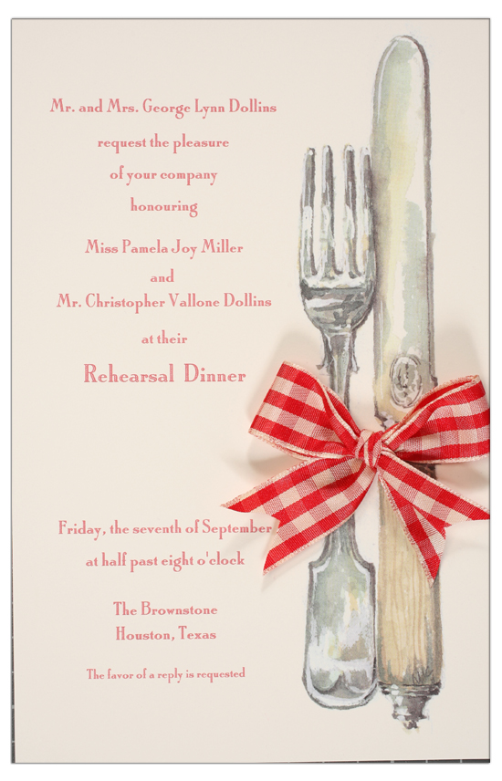 English Silver Red Ribbon Invitation