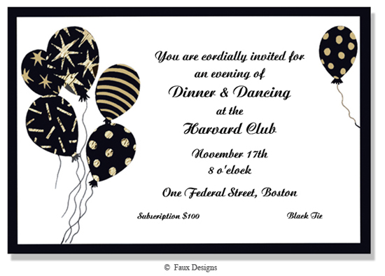 Events - Balloons Black Invitation