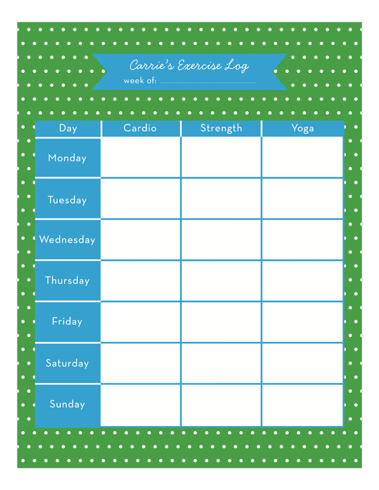 Exercise Log Calendar Pad