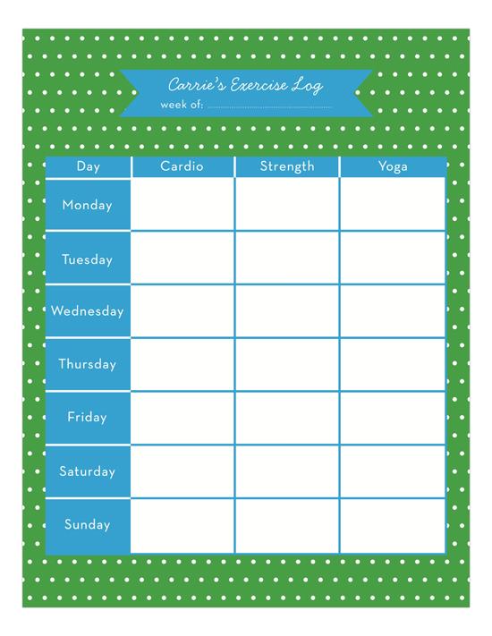 Exercise Log Calendar Pad