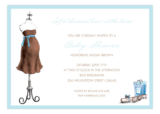 Expecting Dress Form Blue Invitation