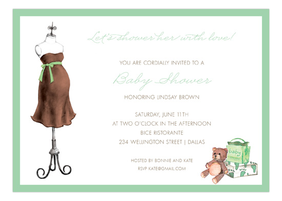 Expecting Dress Form Green Invitation