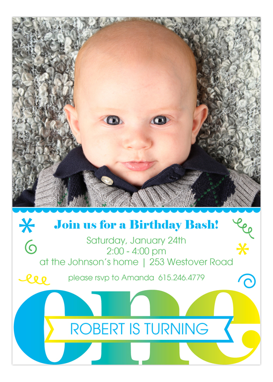 Fabulous Boy First Birthday Photo Invitation