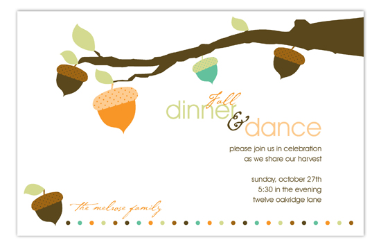 Fall Acorns Invitation