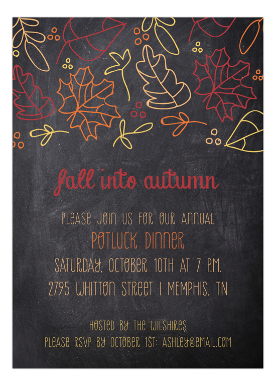 Fall Leaves Chalkboard Invitation  Polka Dot Invitations