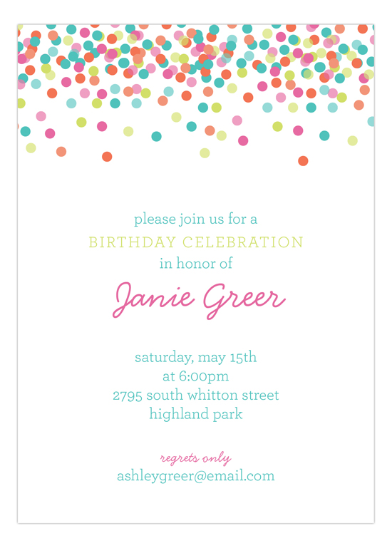 Falling Confetti Pastel Colors Invitation | Polka Dot Invitations