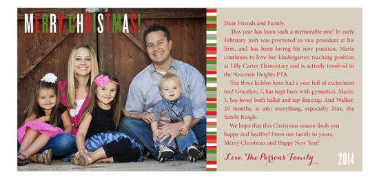 Family Christmas Letter Photo Card