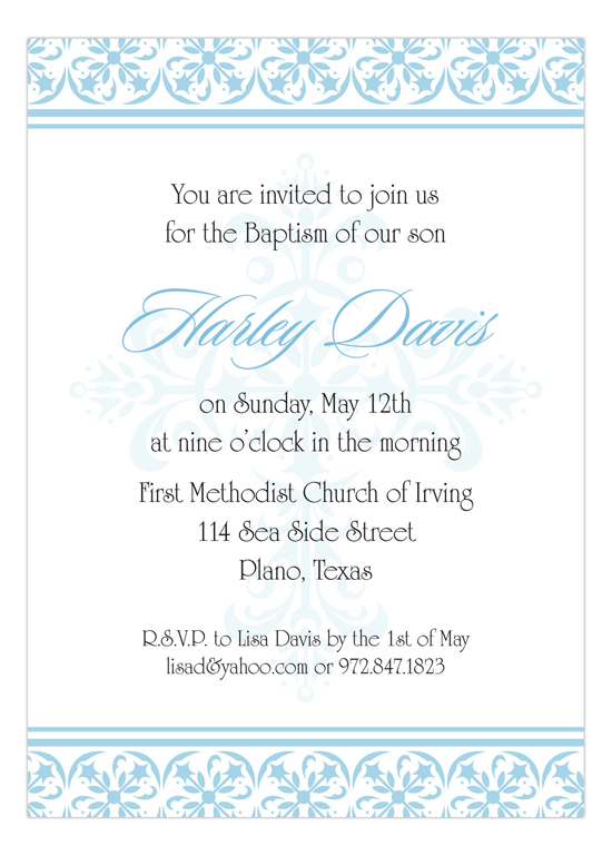 Fancy Blue Cross Invitation