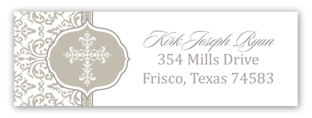 Fancy Cross Gray Address Label