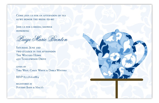Fancy Fleur Kettle Bridal Tea Invites Polka Dot Invitations