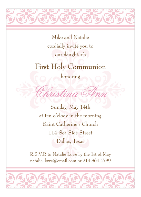 fancy pink cross invitation invitations for a girl s baptism