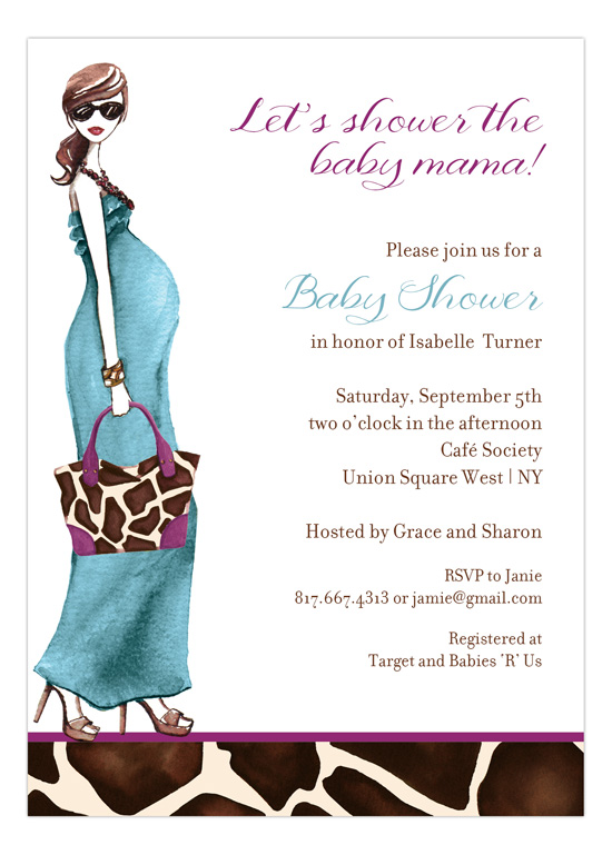 Fashionable Mom Blue - Brunette Invitation