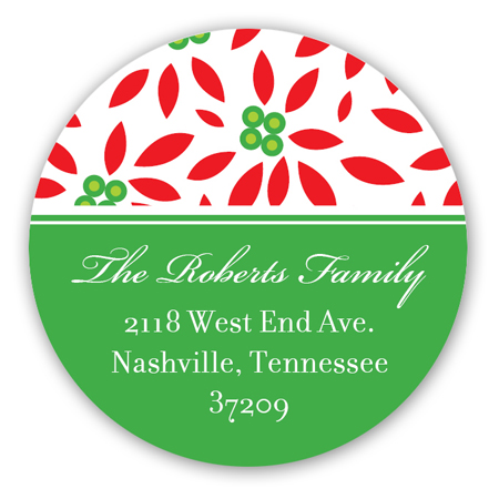 Festive Christmas Flowers Round Sticker