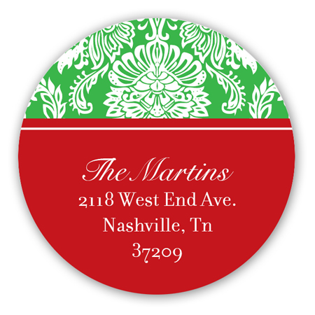 Festive Damask Round Sticker