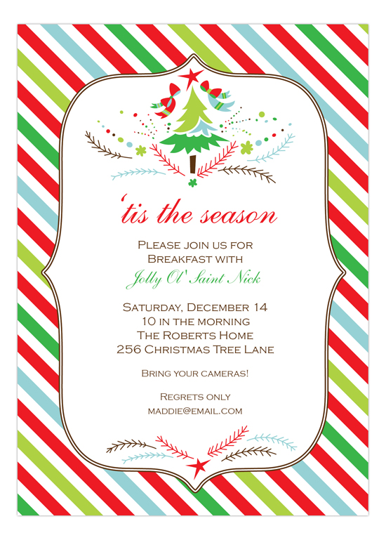 Festive Holiday Stripes Red & Green Invitation