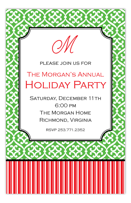 Festive Pattern and Stripe Invitation