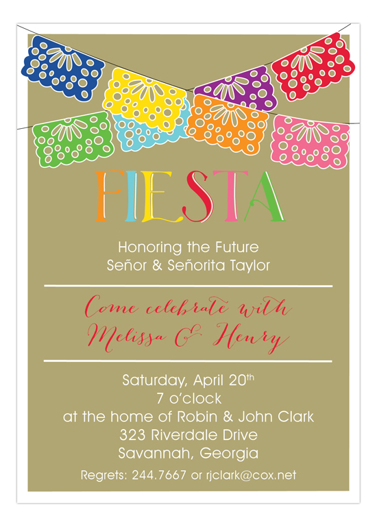 Swag Banner Fiesta Invitations on Gold