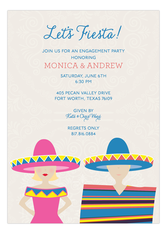 fiesta blonde couple invitation