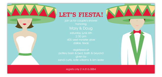 Lets Fiesta Wedding Brunette Invitations