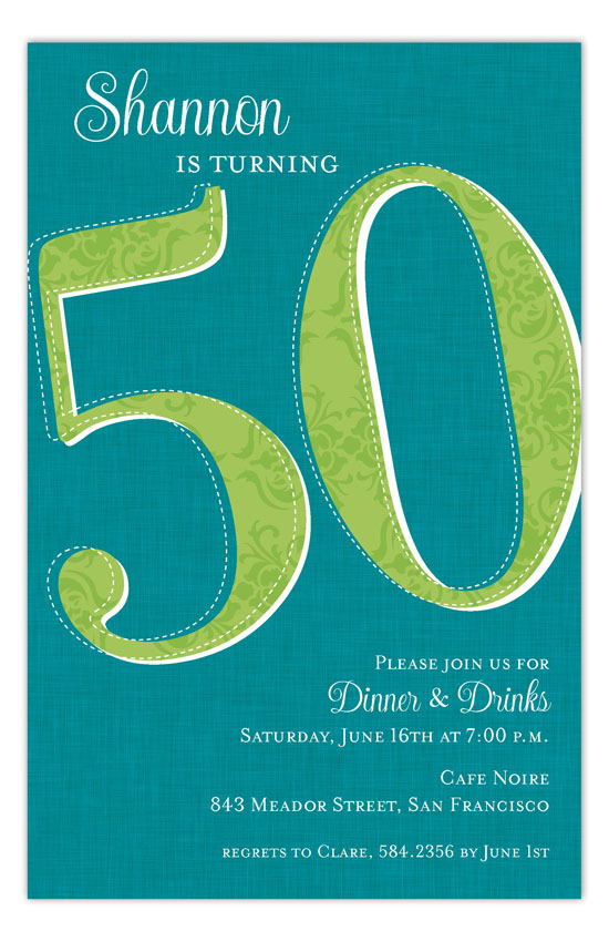 Fifty Reasons 50th Birthday Party Invitations