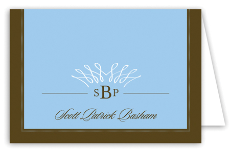 Filigree Monogram Blue Note Card
