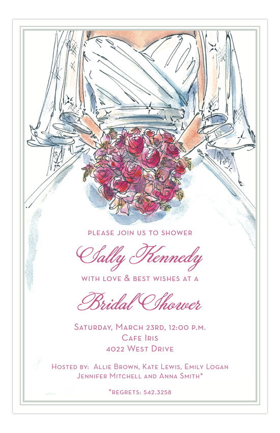 Fine Bride with Pink Bouquet Bridal Shower Invites