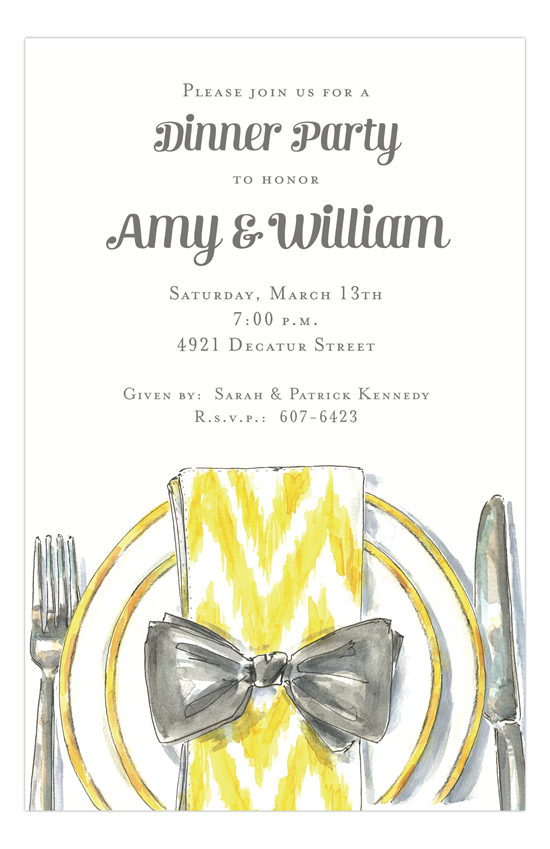 Yellow and Gray Fine Plate Pre Wedding Rehearsal Dinner Invitations