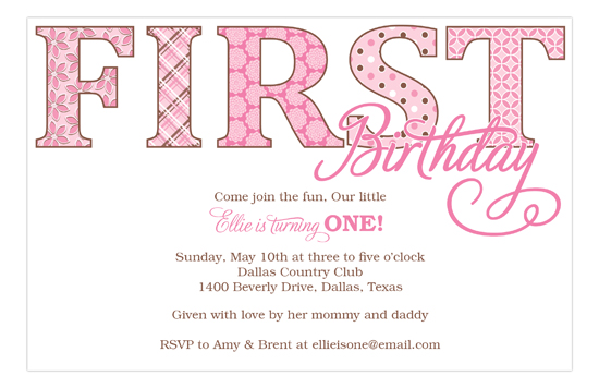 First B-day Pink Patterns Invitation