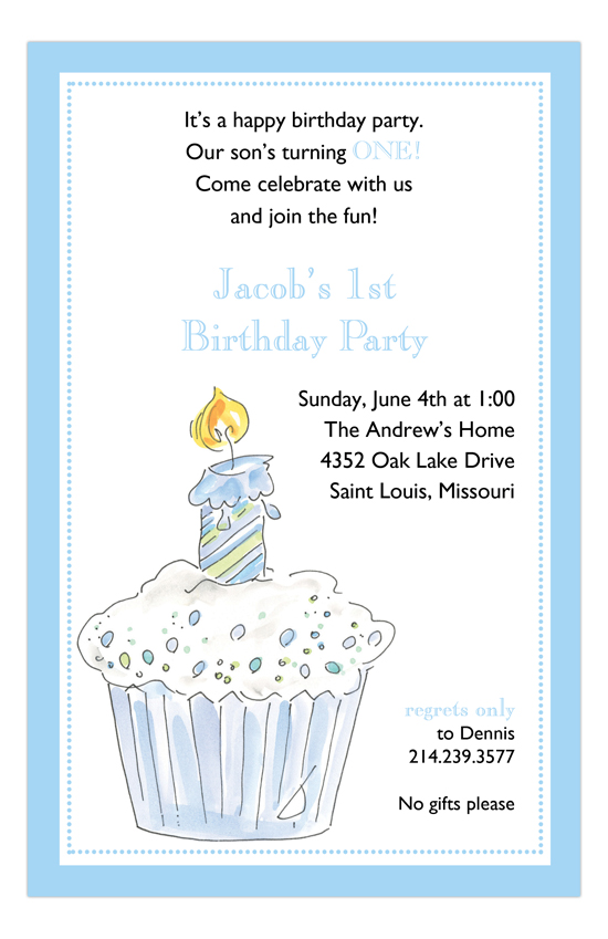 First Blue Cup Cake Invitation