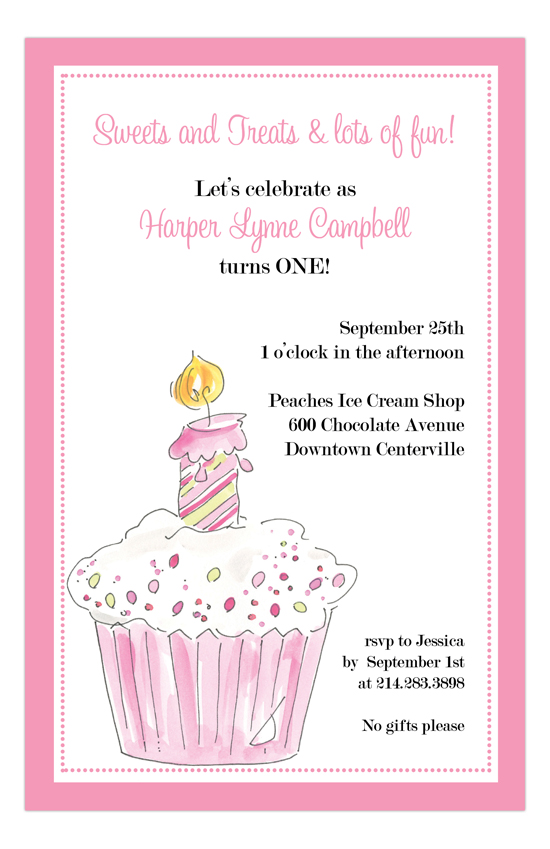 First Birthday Pink Cup Cake Invitation