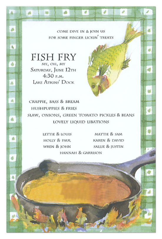 Fish Fry Invitation Polka Dot Design