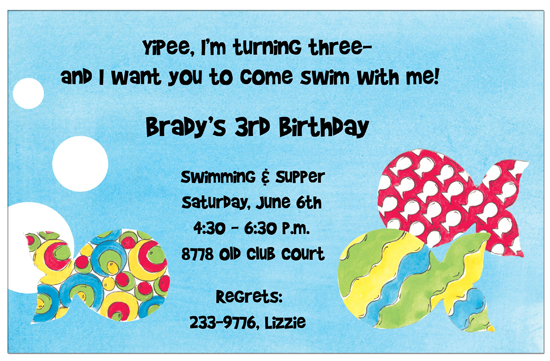 Turning 3 Fish Invitation