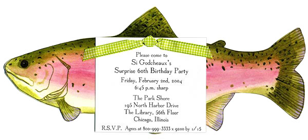 Die-Cut Green and Pink Fish Invitation