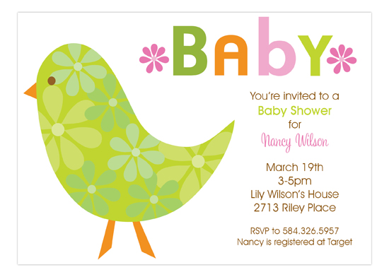 Floral Baby Bird Invitation