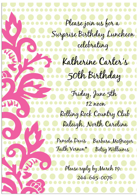 50th Birthday Floral Invitations