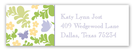 Fluttering Floral Address Label