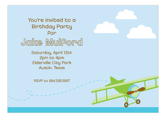 Flying in the Sky Invitation